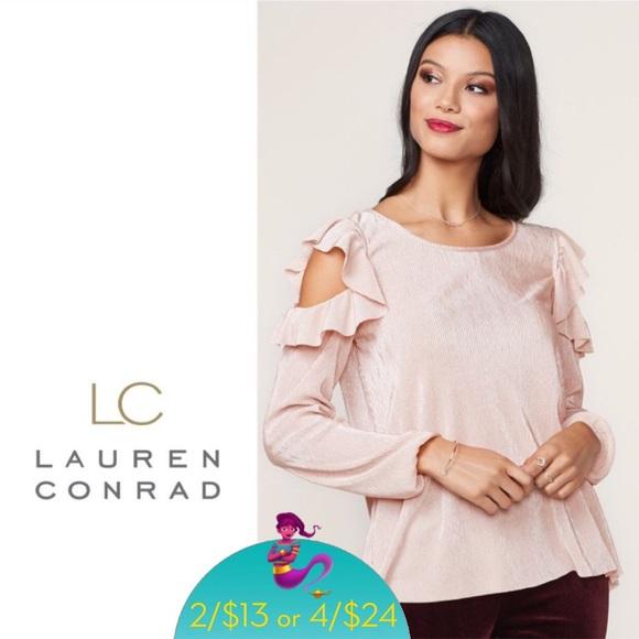 bb19fba7de0ab5 LC Lauren Conrad Tops | Pleated Cold Shoulder Top M | Poshmark